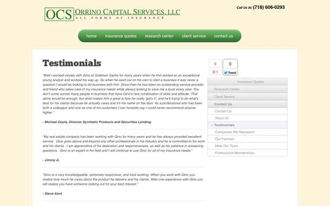 Screenshot of Testimonials Page orrinocapital.com - What people say about Orrino Capital, Testimonials | Orrino Capital - captured Oct. 7, 2014