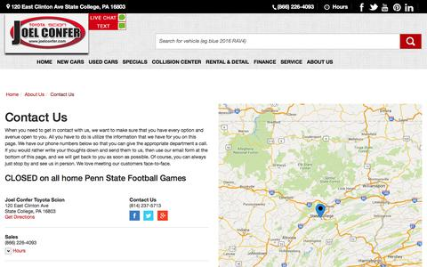 Screenshot of Contact Page Hours Page joelconfer.com - Contact Joel Confer Toyota Scion in State College Pennsylvania - captured Feb. 11, 2016