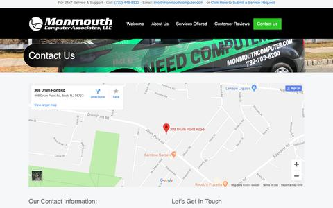 Screenshot of Contact Page monmouthcomputer.com - Contact Us | NJ Computer Repair | Business IT Support and Solutions | Technology Support | Monmouth Computer Associates - captured Dec. 10, 2018