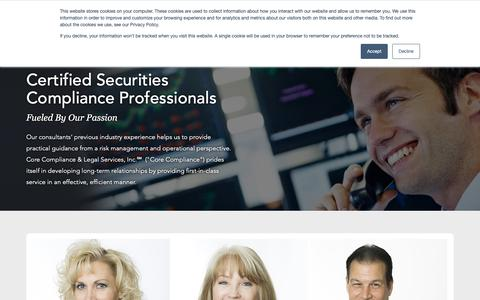 Screenshot of Team Page corecls.com - Certified Securities Compliance Professionals | CCLS - captured Nov. 11, 2018