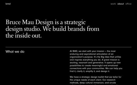 Screenshot of About Page brucemaudesign.com - About — Bruce Mau Design - captured Sept. 7, 2019