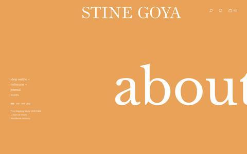 Screenshot of About Page stinegoya.com - Copenhagen based fashion designer - Stine Goya - captured Oct. 20, 2018