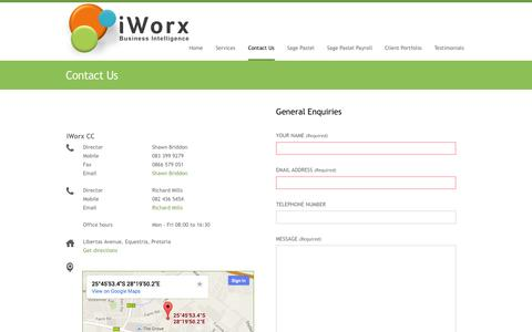 Screenshot of Contact Page iworx.co.za - Contact Us - iWorx CC - captured Oct. 6, 2014