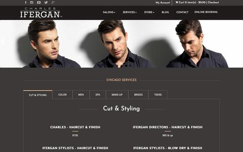 Screenshot of Services Page charlesifergan.com - Hair Color Salon Services in Oak Street, Chicago - captured Sept. 27, 2018