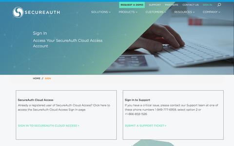 Screenshot of Login Page secureauth.com - Sign In | SecureAuth - captured July 2, 2017