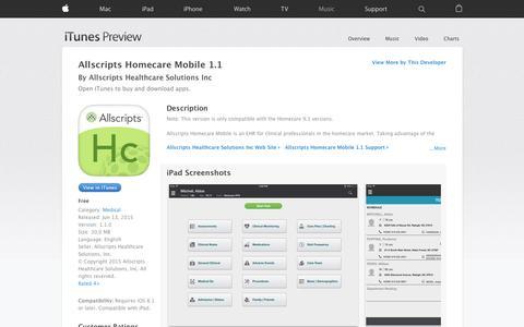 Allscripts Homecare Mobile 1.1 on the App Store