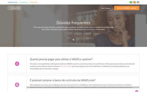 Screenshot of FAQ Page vagas.com.br - Perguntas Frequentes - Solução de R&S | VAGAS.com - captured June 20, 2017