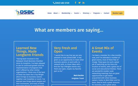 Screenshot of Testimonials Page dsbchamber.com - Testimonials - Delaware Small Business Chamber - captured Oct. 8, 2018