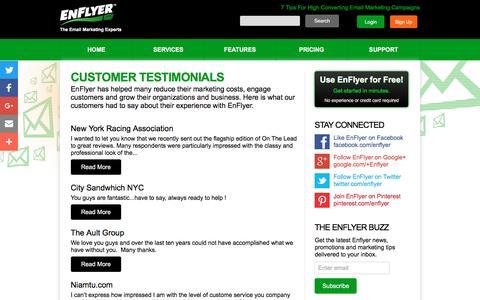 Screenshot of Testimonials Page enflyer.com - Customer Testimonials - EnFlyer - captured Dec. 25, 2016