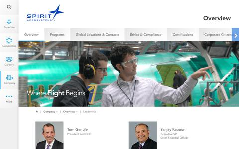 Screenshot of Team Page spiritaero.com - Leadership | Overview | Company | Spirit AeroSystems - captured Sept. 20, 2018