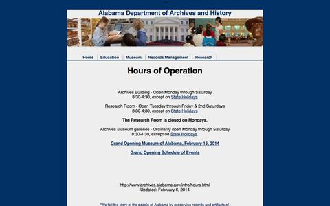 Screenshot of Hours Page alabama.gov - Alabama Department of Archives and History - captured Sept. 18, 2014