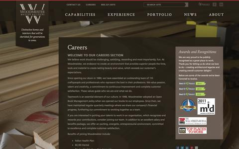 Screenshot of Jobs Page woodmeister.com - Employment at Woodmeister Master Builders - captured Oct. 7, 2014