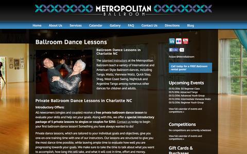 Screenshot of Services Page metropolitan-ballroom.com - Private Ballroom & Latin Dance Lessons | Ballroom Rental Charlotte, NC | Metropolitan Ballroom - captured Jan. 10, 2016