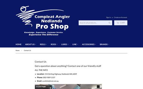 Screenshot of Contact Page compleatanglernedlands.com.au - Contact Us – Compleat Angler Nedlands Pro Tackle - captured July 9, 2018