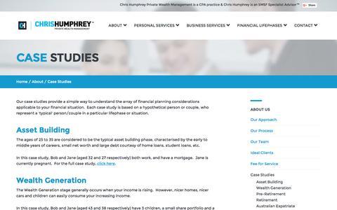 Screenshot of Case Studies Page humphreywealth.com.au - Case Studies | Financial Planner Brisbane | Financial Advisors - Chris Humphrey Private Wealth Management - captured Jan. 27, 2016