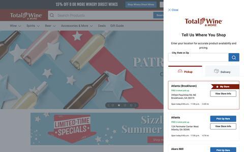 Screenshot of Home Page totalwine.com - Wine Store, Liquor Store, Buy Wine Online | Total Wine & More - captured June 21, 2019