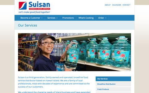 Screenshot of Services Page suisan.com - Our Services | Suisan Foodservice - captured Feb. 17, 2016