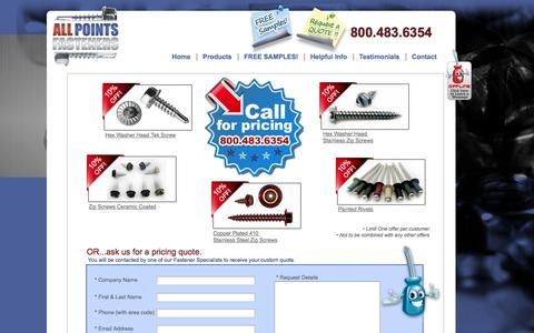 Screenshot of Landing Page allpointsfasteners.com - All Point Fasteners - Screw Quote Request Form - captured Oct. 27, 2014