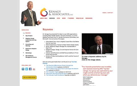 Screenshot of Services Page kenagyassociates.com - Keynotes «  Kenagy & Associates - captured Nov. 27, 2016