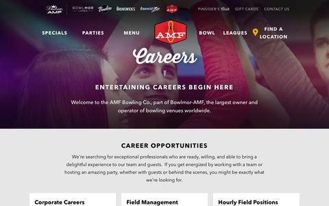Screenshot of Jobs Page amf.com - Careers | The AMF Bowling Co. - captured Feb. 4, 2016