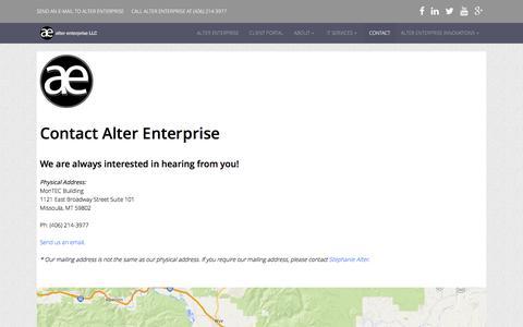 Screenshot of Contact Page alterenterprise.com - Contact Đ Alter Enterprise - captured Dec. 24, 2015