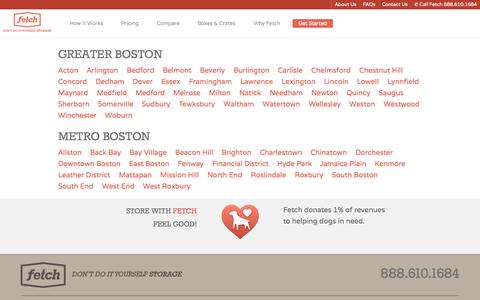 Screenshot of Locations Page fetchstorage.com - Fetch Storage - Full Service Boston Storage Solution - Storage for all your stuff - captured Sept. 30, 2014