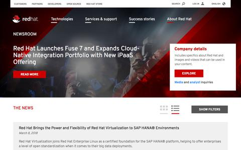 Screenshot of Press Page redhat.com - News and press releases - captured Aug. 8, 2018