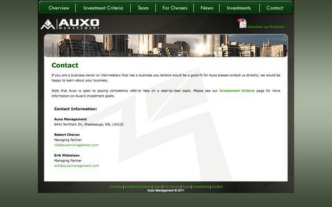Screenshot of Contact Page auxomanagement.com - Auxo Management - captured Oct. 4, 2014