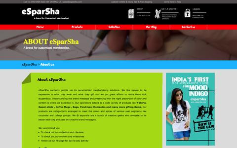 Screenshot of About Page esparsha.com - About us - captured Oct. 31, 2014
