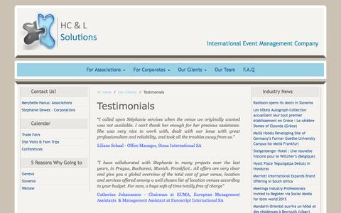Screenshot of Testimonials Page hclsolutions.be - Testimonials from HC&L Solutions Clients - captured Dec. 5, 2015