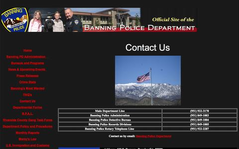 Screenshot of Contact Page banningpolice.org - The Official Site of the Banning Police Department - captured Oct. 5, 2014