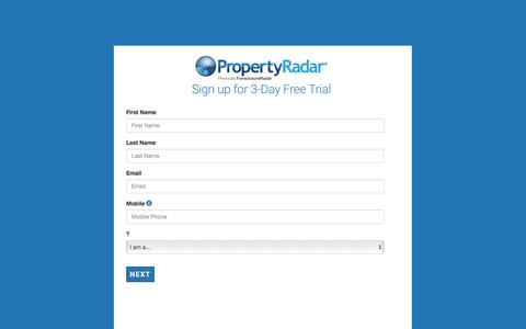 Screenshot of Trial Page propertyradar.com - PropertyRadar Free 3 Day Trial - Full access - captured May 10, 2017