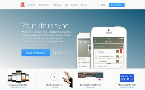 Screenshot of Home Page wunderlist.com - Wunderlist | To-do list, Reminders, Errands - App of the Year! - captured Dec. 13, 2014