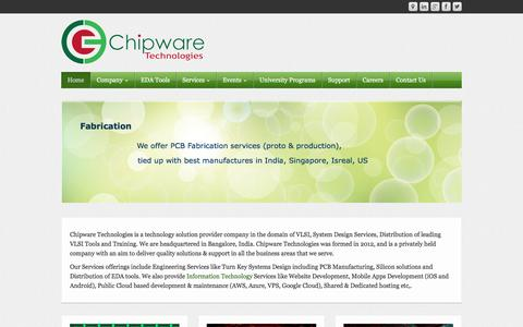 Screenshot of Home Page chipwaretechnologies.com - Chipware Technologies :: EDA Tools, VLSI, Chip Design, PCB Design services and Turn Key Systems Design - captured Dec. 8, 2015