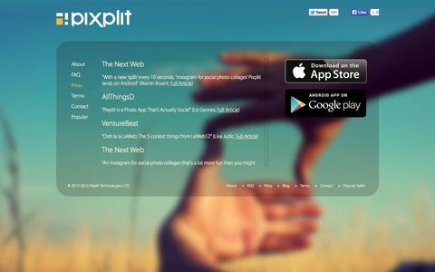 Screenshot of Press Page pixplit.com - Pixplit - Social Photos : Press & Media Coverage - captured Sept. 13, 2014