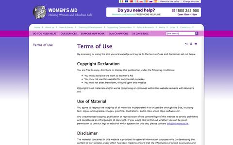 Screenshot of Terms Page womensaid.ie - Terms of Use » Women's Aid - Domestic violence service in Ireland - captured Oct. 9, 2014