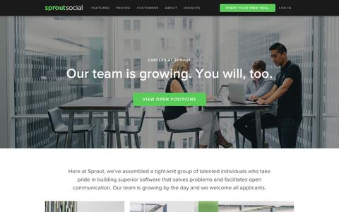 Screenshot of Jobs Page sproutsocial.com - Careers | Sprout Social - captured Oct. 21, 2015