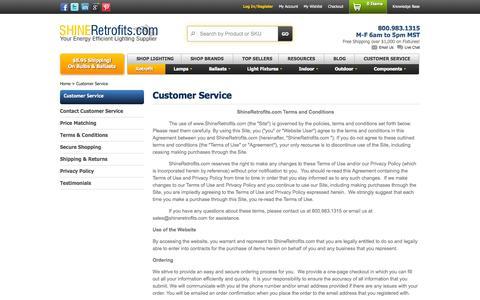 Screenshot of Support Page shineretrofits.com - Customer Service - captured Sept. 23, 2014
