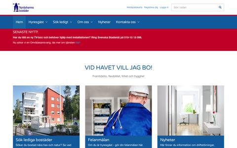 Screenshot of Home Page nynasbo.se - Hem - AB Nynäshamnsbostäder - captured Dec. 5, 2016