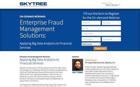 Screenshot of Landing Page skytree.net - Skytree MapR Enterprise Fraud Management Solutions Webinar - captured May 26, 2016