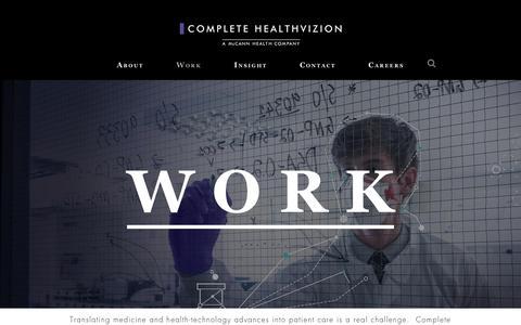 Screenshot of Case Studies Page complete-hv.com - Case studies and work from Complete HealthVizion - complete-hv.com - captured Aug. 20, 2017