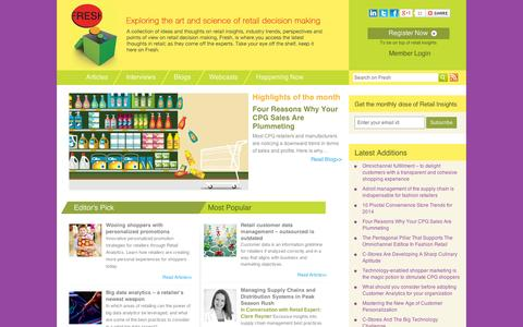 Screenshot of Blog manthansystems.com - Fresh: The Newest Ideas in Retail Decision Making - captured Sept. 11, 2014