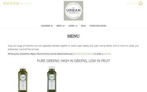Screenshot of Menu Page urbanremedy.com.au - Menu - Urban Remedy - captured Dec. 21, 2016