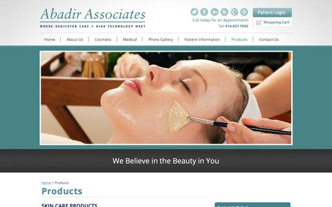Screenshot of Products Page drabadir.com - Skin Care Products | Abadir Associates - captured Oct. 2, 2018