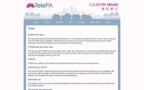Screenshot of Terms Page telepa.co.uk - TelePA  Terms ⋆ TelePA - captured June 19, 2017
