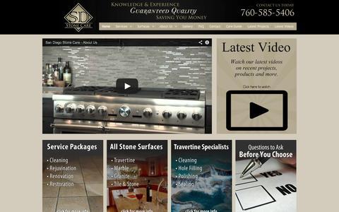 Screenshot of Home Page sdstonecare.com - San Diego Stone Care - captured Oct. 4, 2014