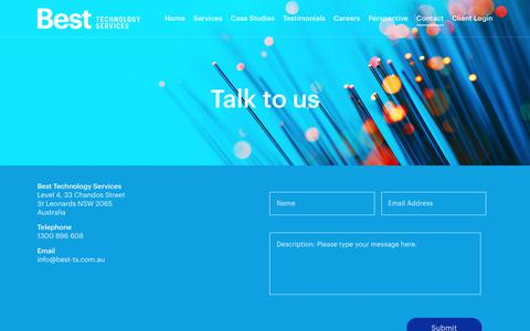 Screenshot of Contact Page best-ts.com.au - Contact   Best Technology Services - captured Oct. 22, 2018