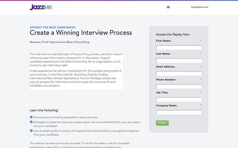 Screenshot of Landing Page jazzhr.com - Free Webinar - Creating a Winning Interview Process | JazzHR - captured Sept. 20, 2018