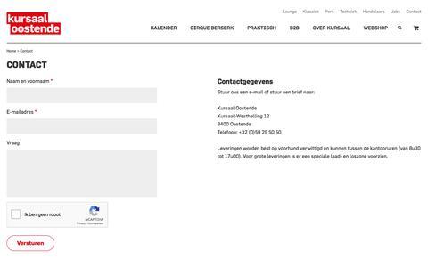 Screenshot of Contact Page kursaaloostende.be - Contact | Kursaal Oostende - captured Sept. 20, 2018