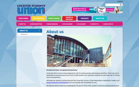 Screenshot of About Page leicesterunion.com - About us @ University of Leicester Students' Union - captured July 13, 2018